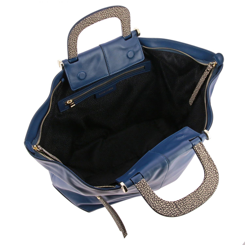 Borbonese Handtasche aus Leder blau 5