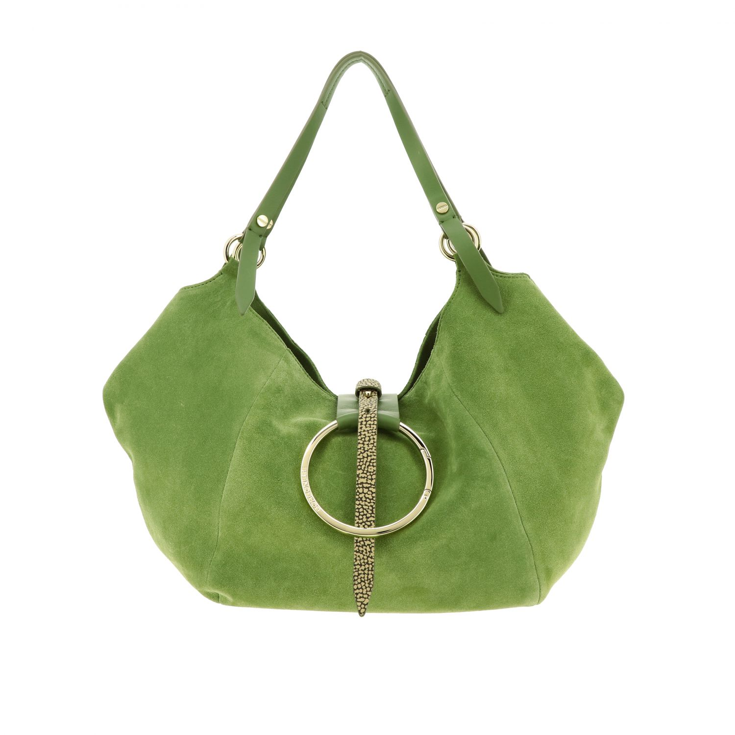 Borbonese shoulder bag in suede and leather green 1