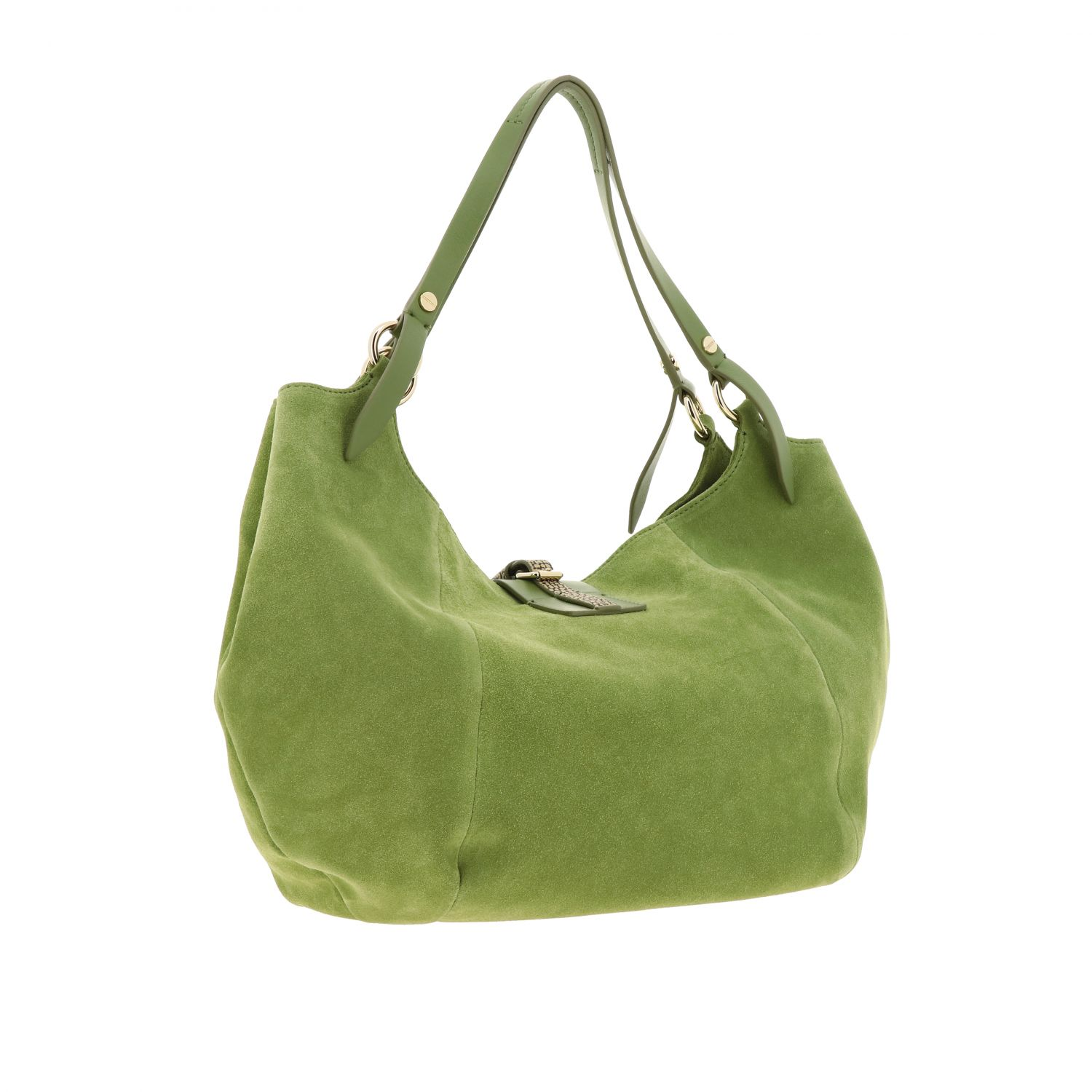 Borbonese shoulder bag in suede and leather green 3