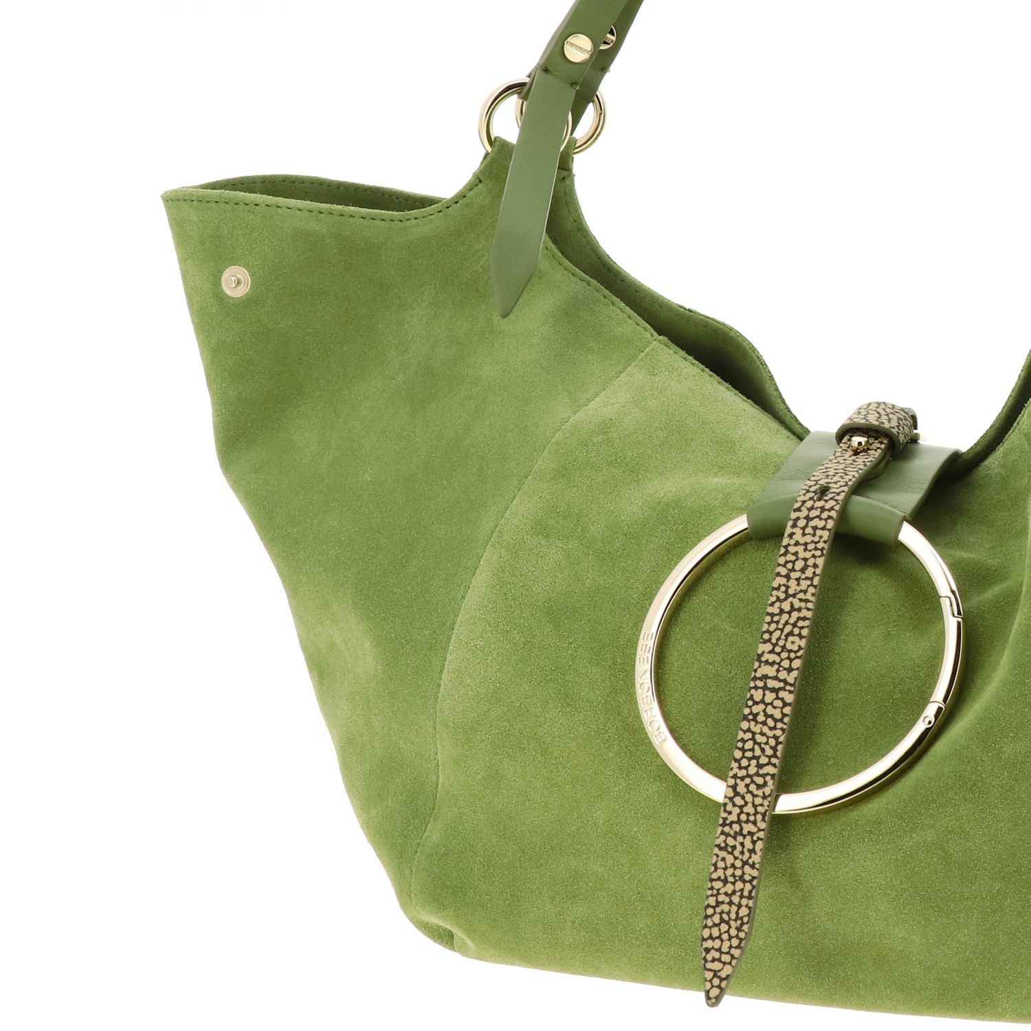Borbonese shoulder bag in suede and leather green 4