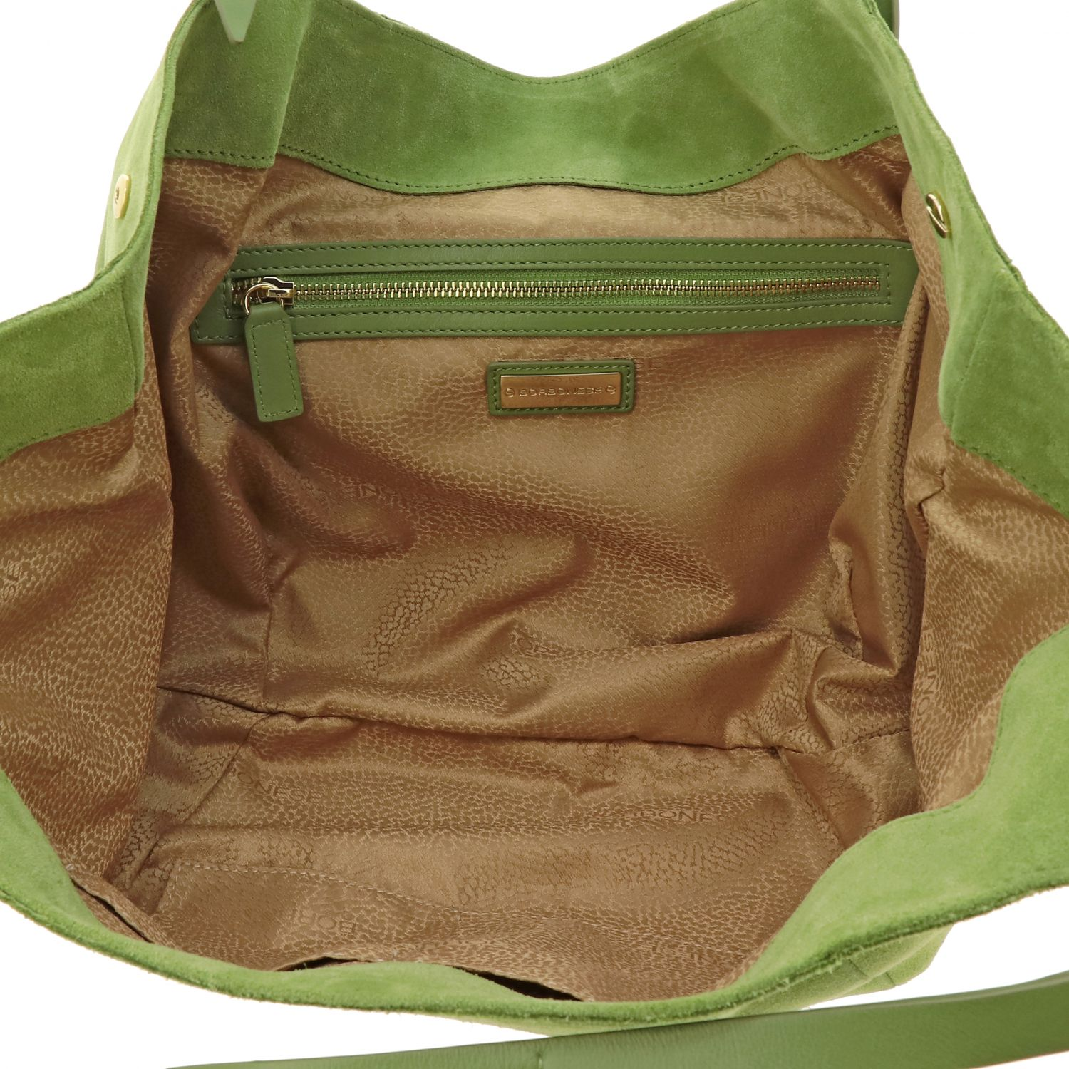 Borbonese shoulder bag in suede and leather green 5