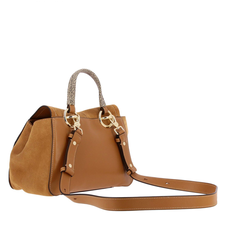 Borbonese Handtasche aus Wildleder braun 3