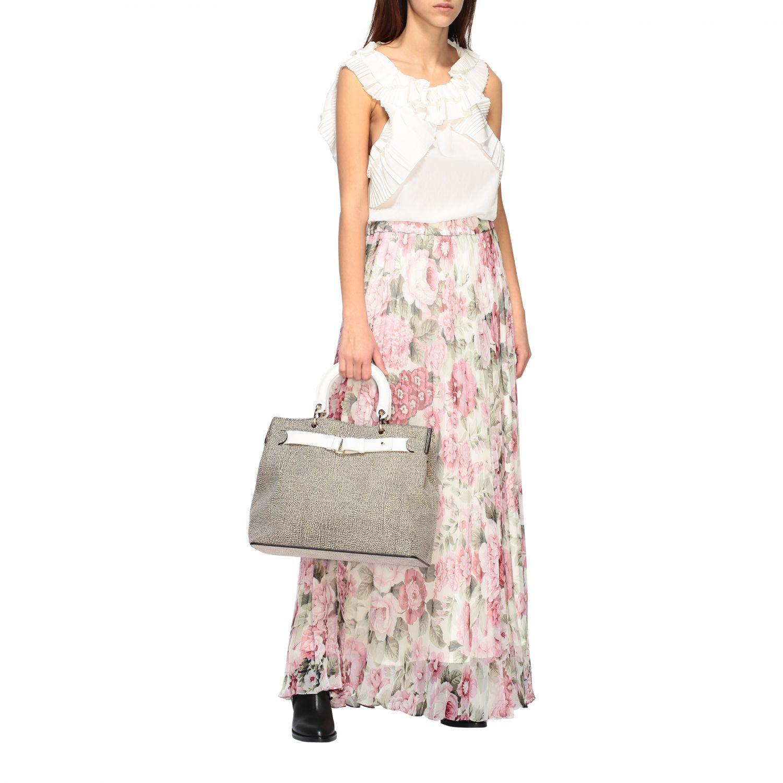 Handbag women Borbonese natural 2