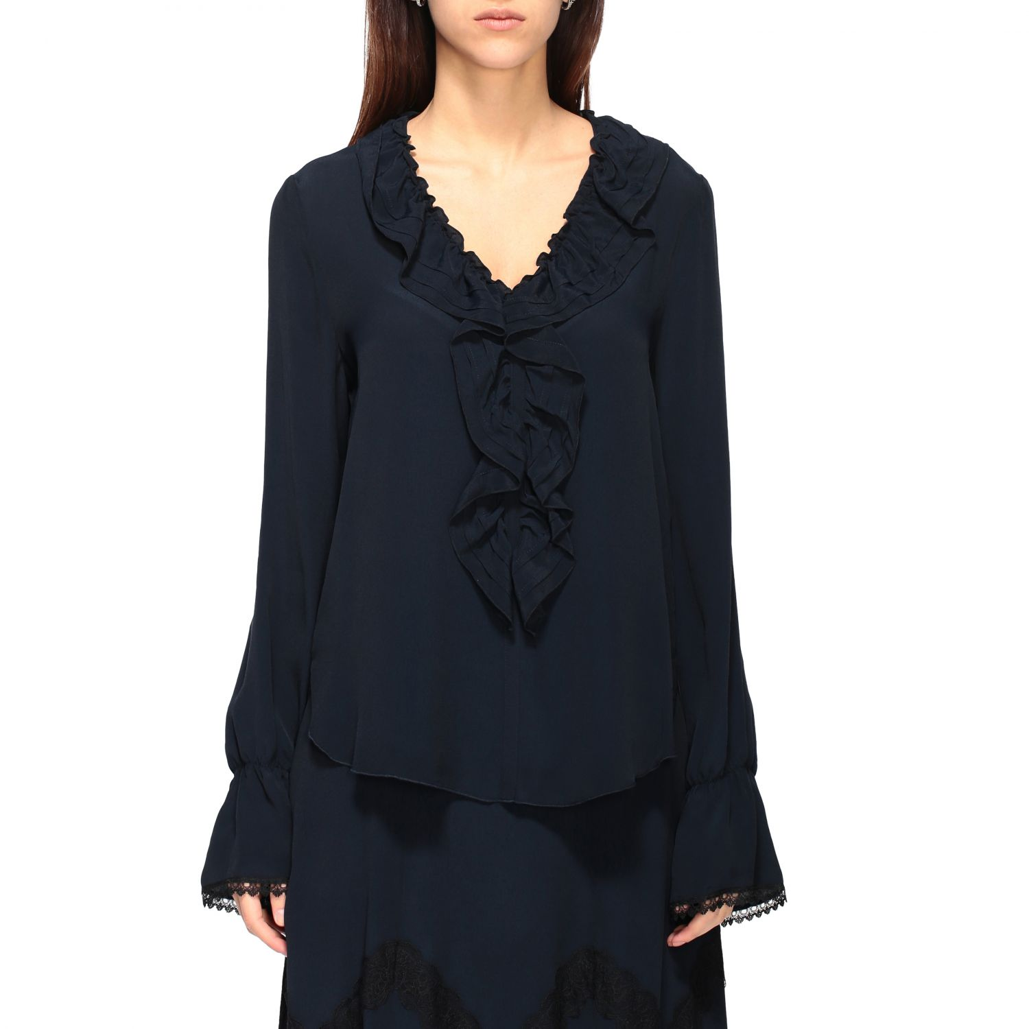 Camicia See By Chloé con rouches blue navy 1