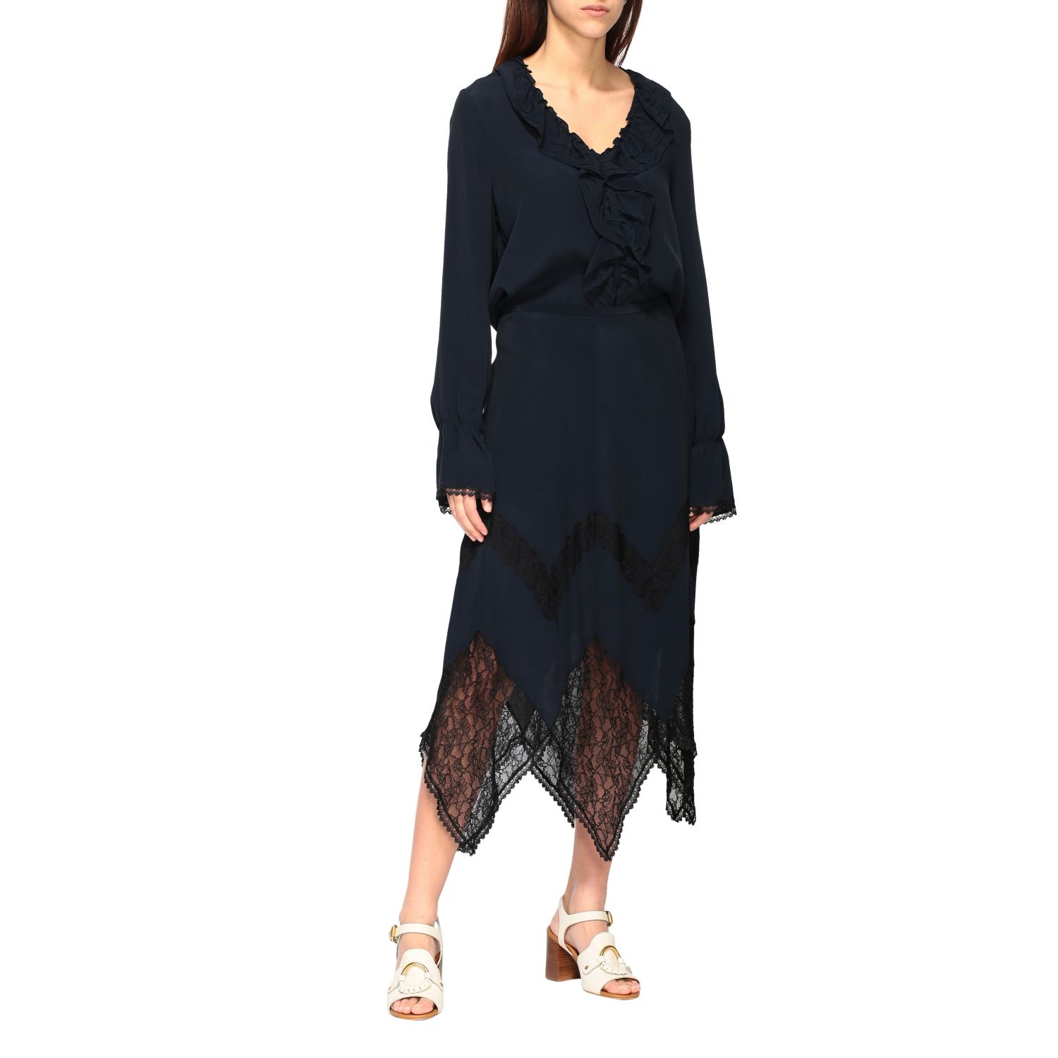 Camicia See By Chloé con rouches blue navy 2