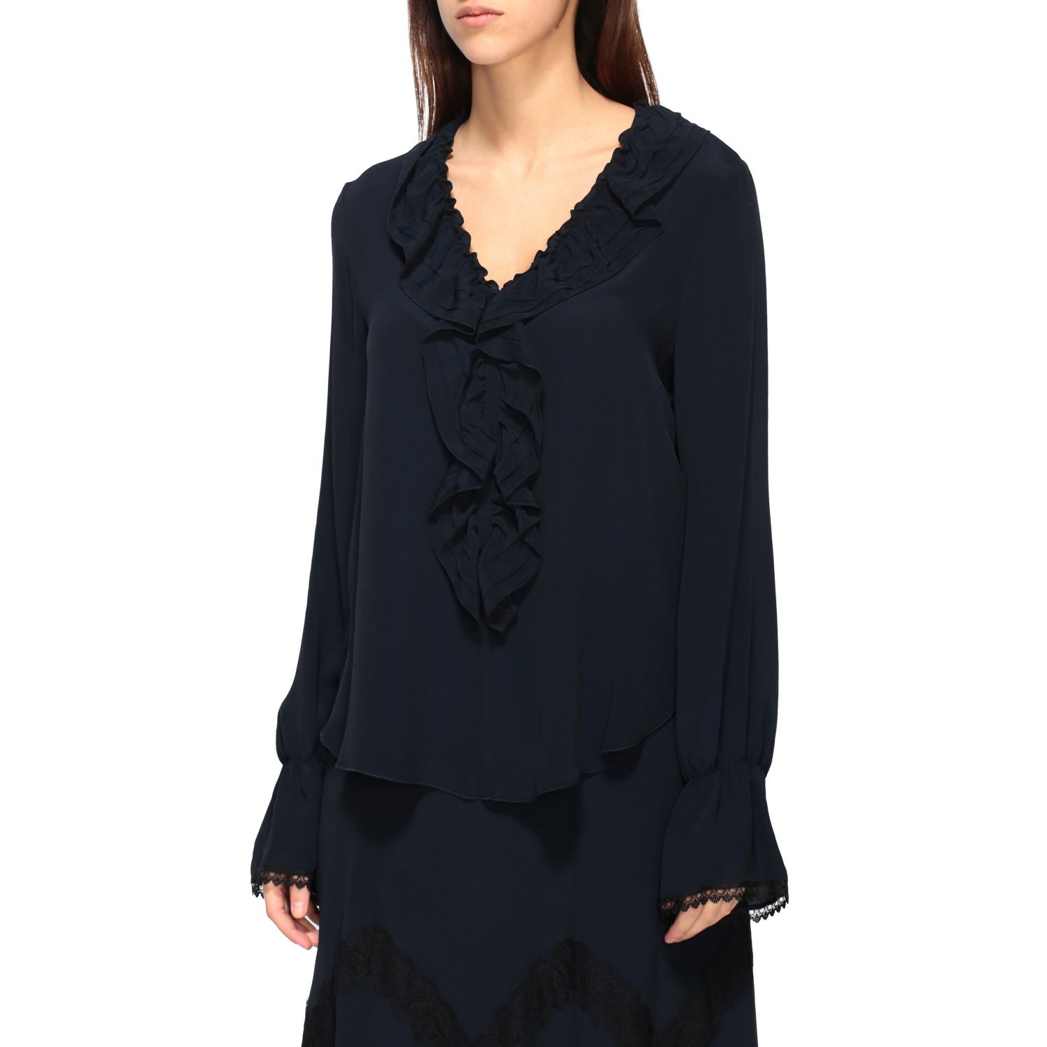 Camicia See By Chloé con rouches blue navy 3