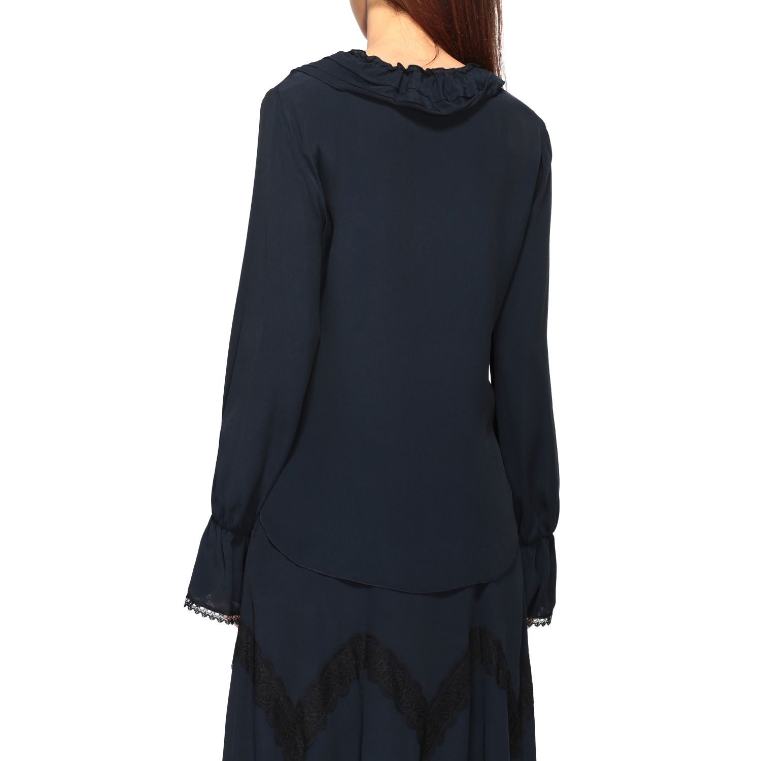 Camicia See By Chloé con rouches blue navy 4