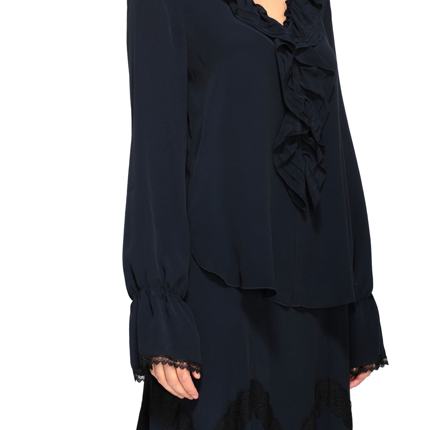 Camicia See By Chloé con rouches blue navy 5
