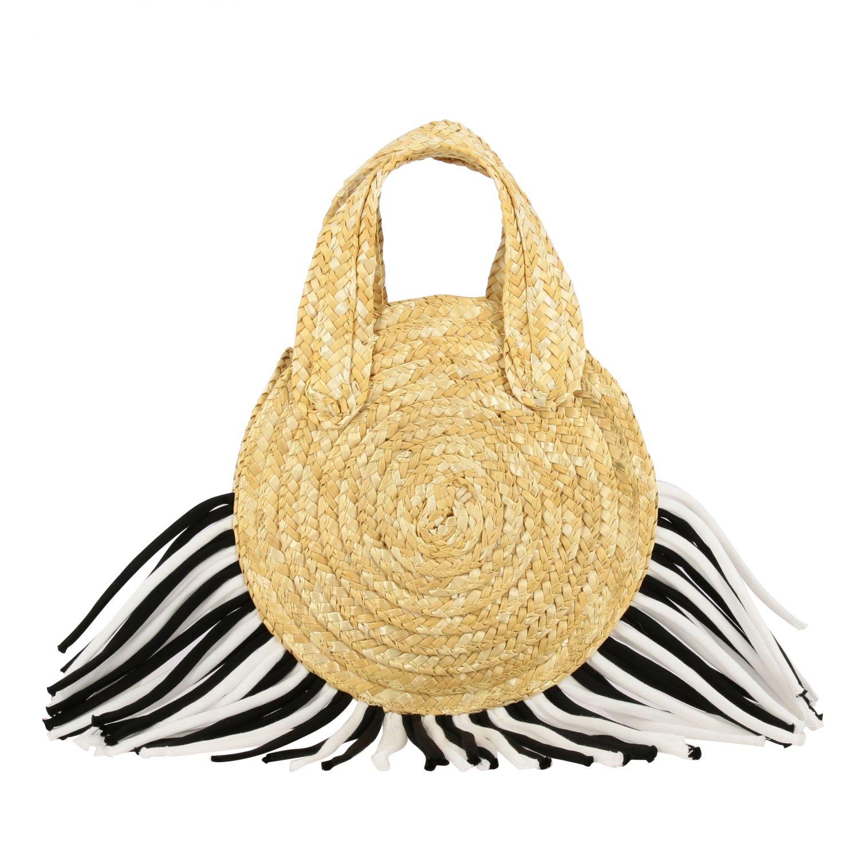 Mi Mi Sol raffia bag with two-tone fringes yellow 1