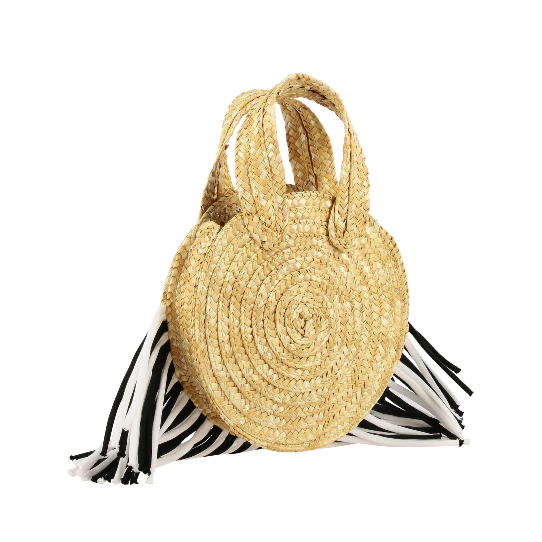 Mi Mi Sol raffia bag with two-tone fringes yellow 2