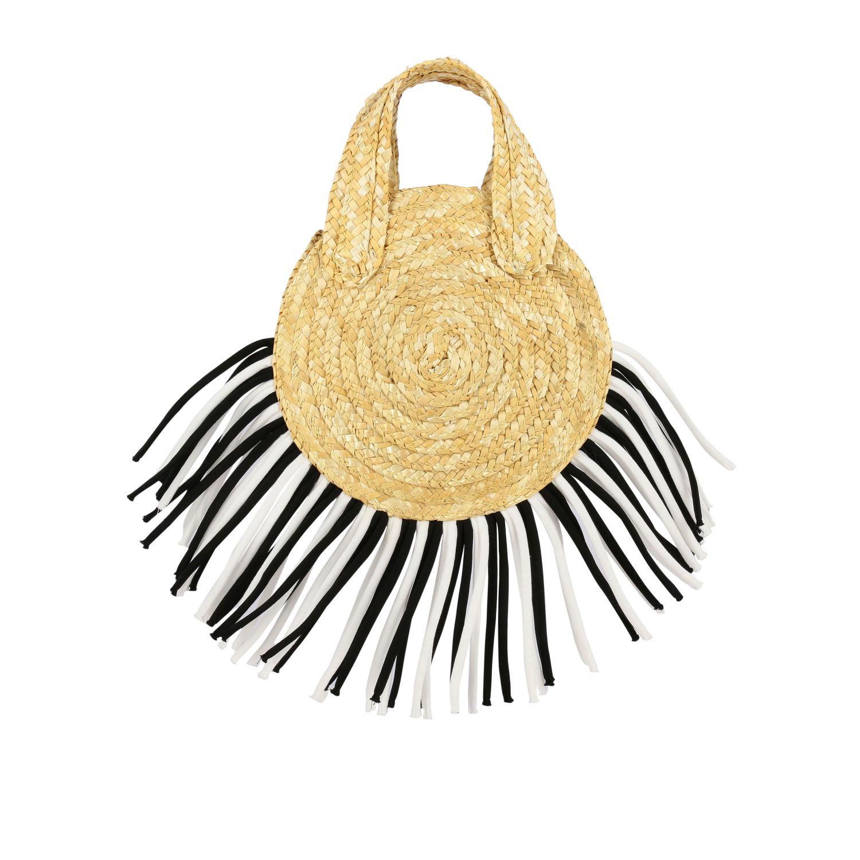Mi Mi Sol raffia bag with two-tone fringes yellow 3