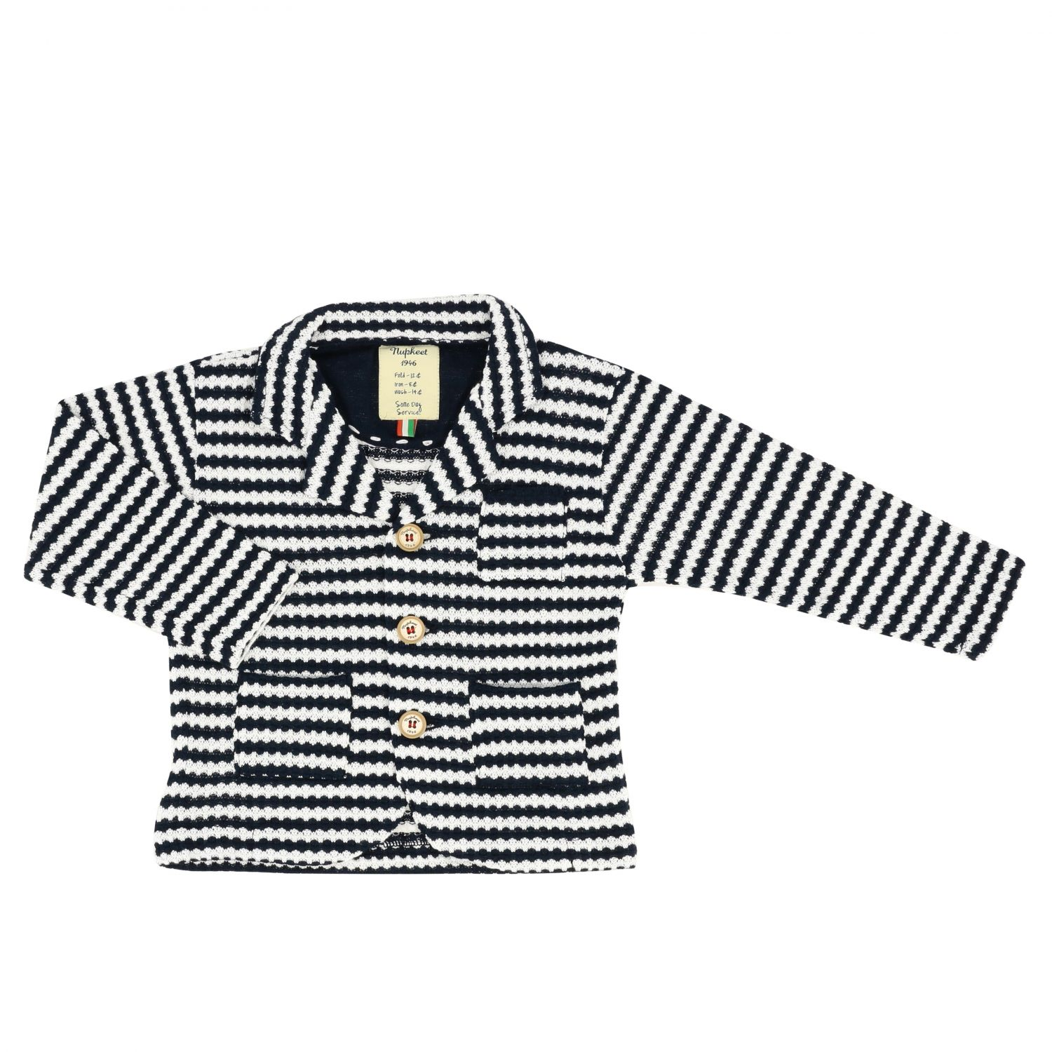 Nupkeet striped knitted jacket blue 1