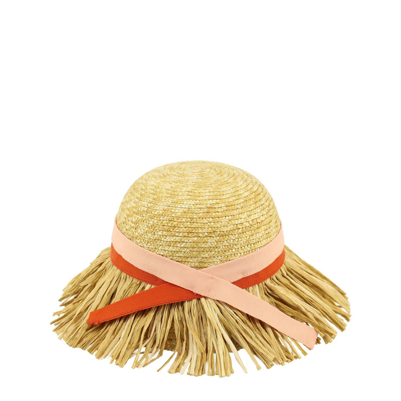 Mi Mi Sol raffia hat with fringes yellow 1