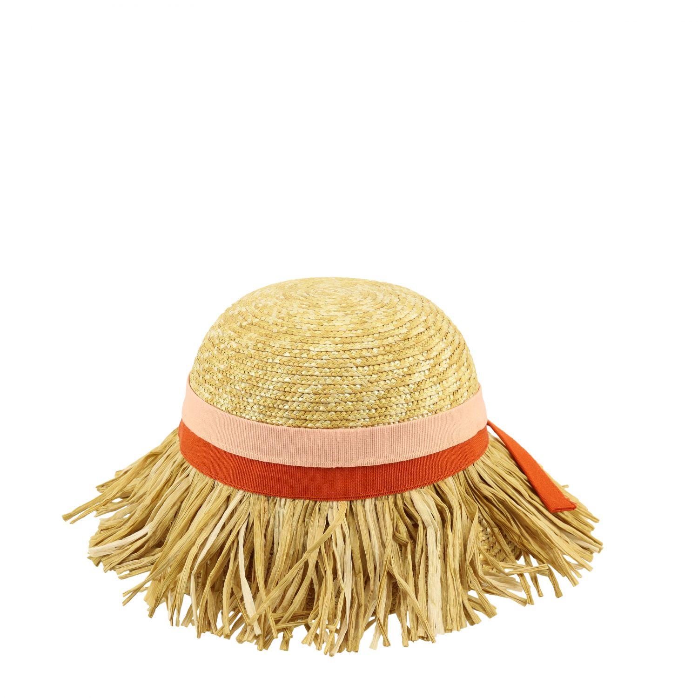 Mi Mi Sol raffia hat with fringes yellow 2