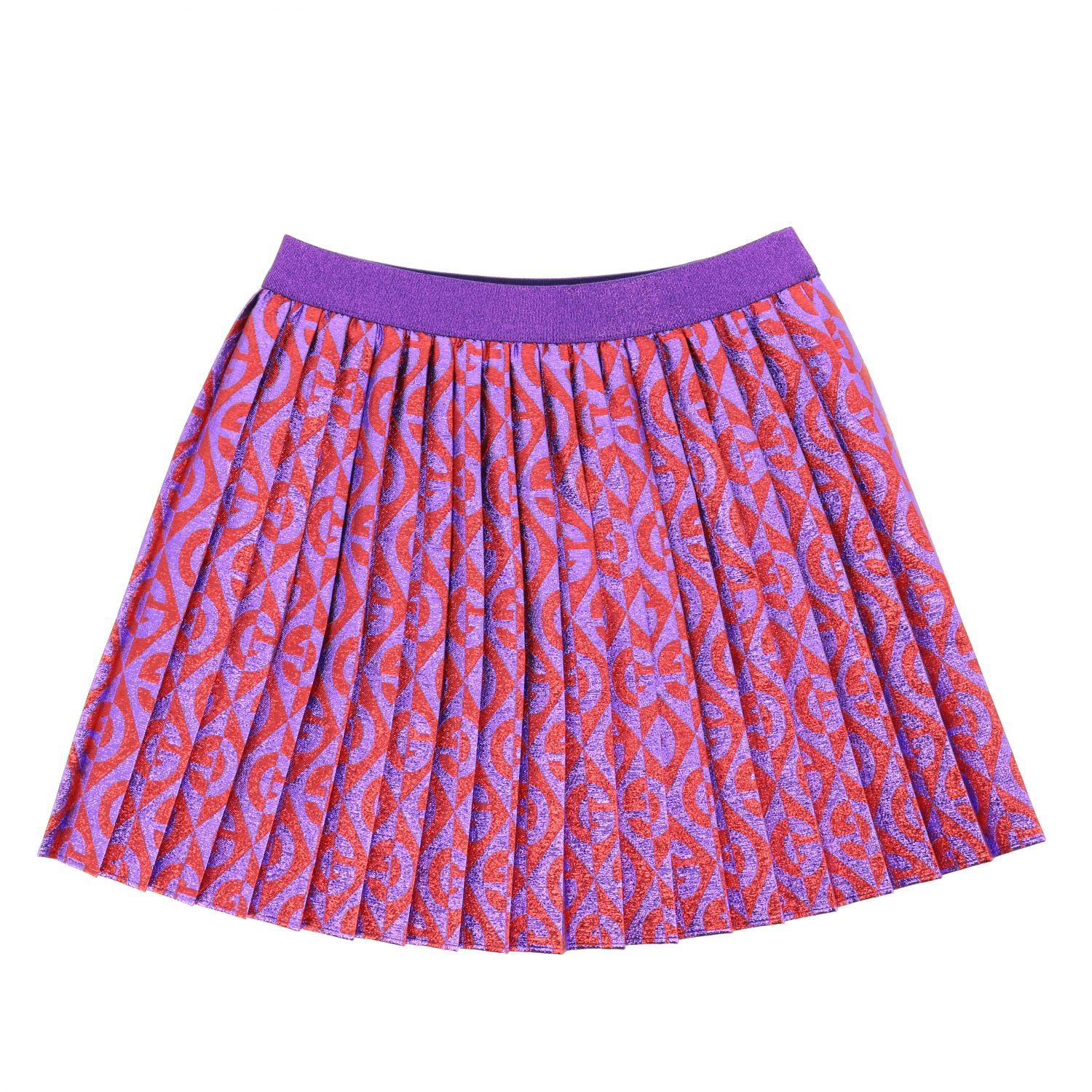Gucci pleated skirt with all over logo red 1