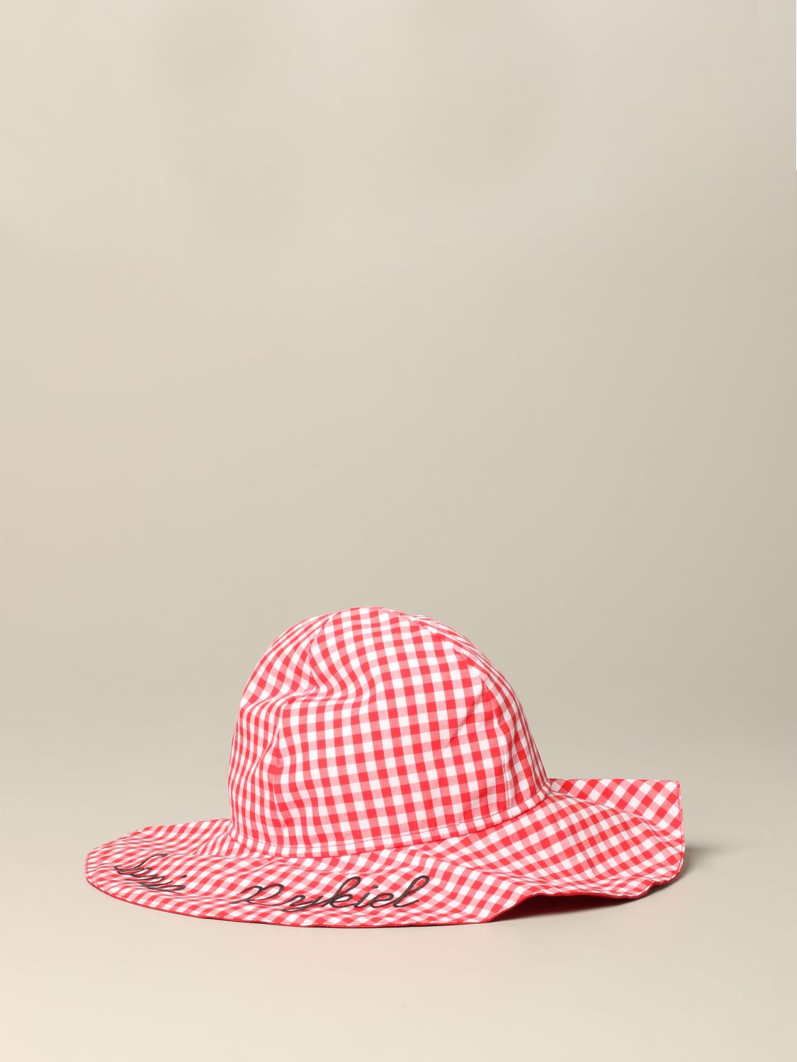 Sonia Rykiel checkered hat with logo red 1