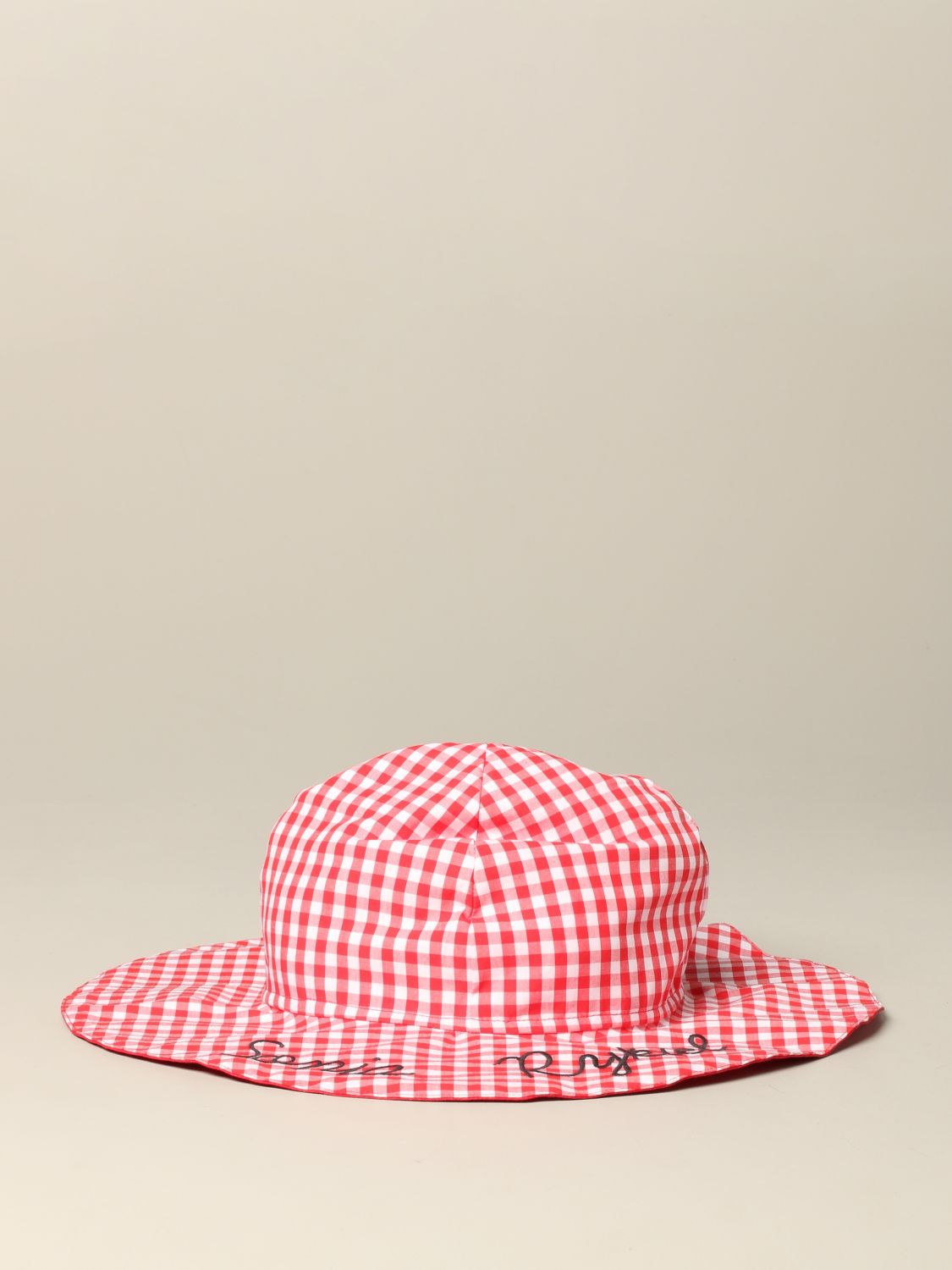 Sonia Rykiel checkered hat with logo red 2