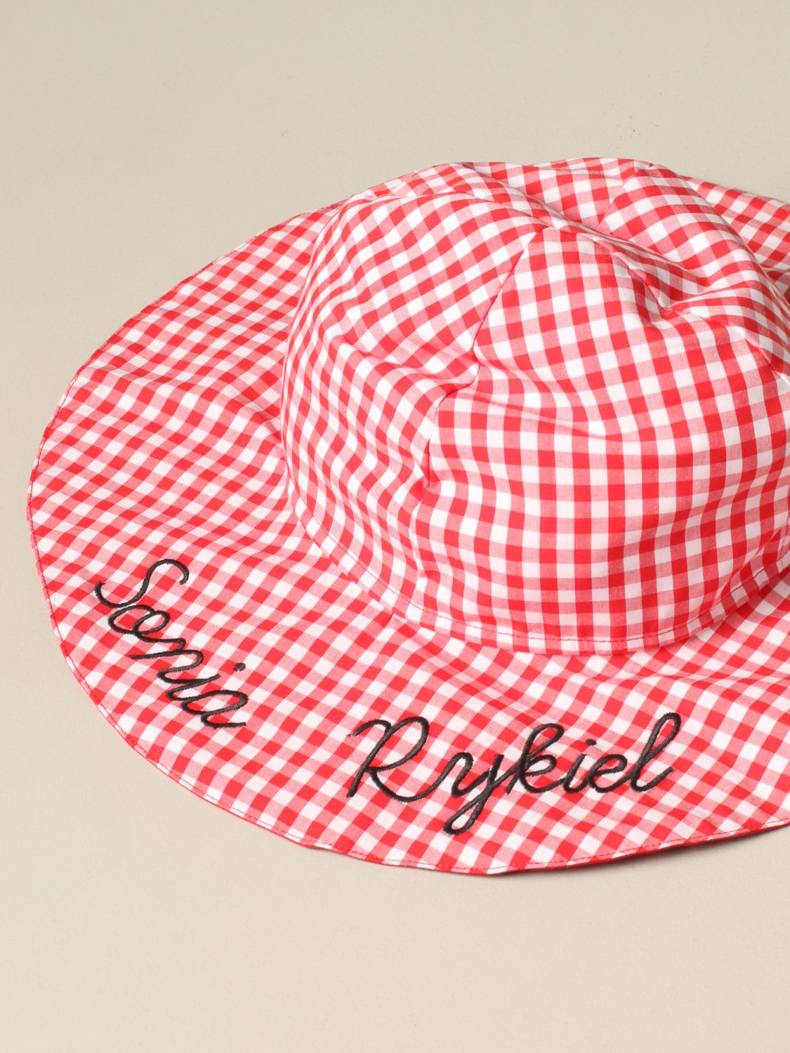 Sonia Rykiel checkered hat with logo red 4