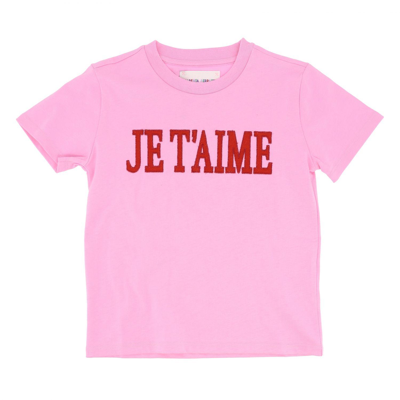 T-shirt Alberta Ferretti Junior: T-shirt Alberta Ferretti Junior a maniche corte con scritta rosa 1