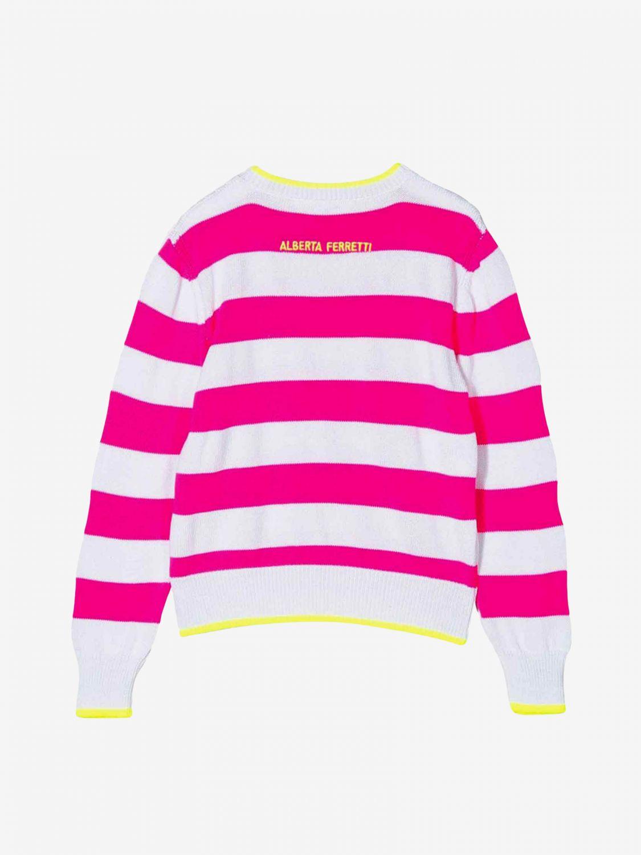 毛衣 Alberta Ferretti Junior: Alberta Ferretti Junior 双色条纹毛衣 紫红色 2