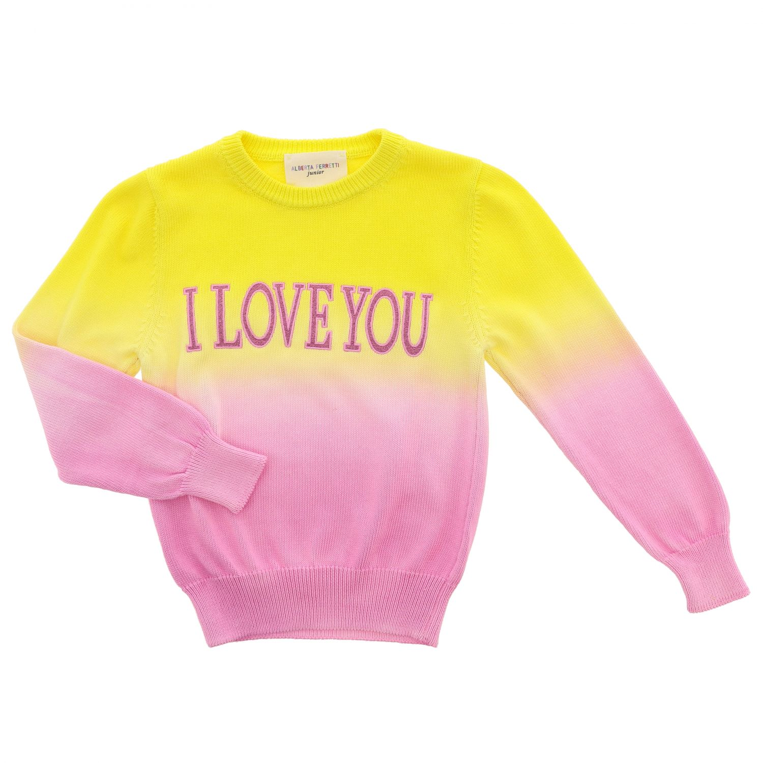 Sweater Alberta Ferretti Junior: Alberta Ferretti Junior shaded sweater with writing yellow 1