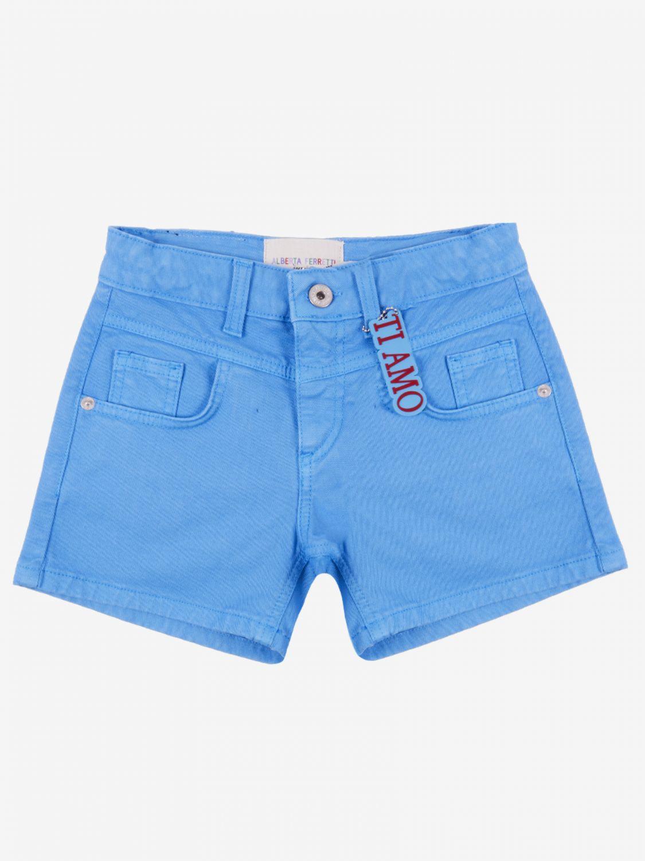 Pants Alberta Ferretti Junior: Alberta Ferretti Junior shorts with writing turquoise 1
