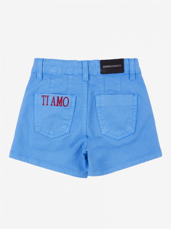 Pants Alberta Ferretti Junior: Alberta Ferretti Junior shorts with writing turquoise 2