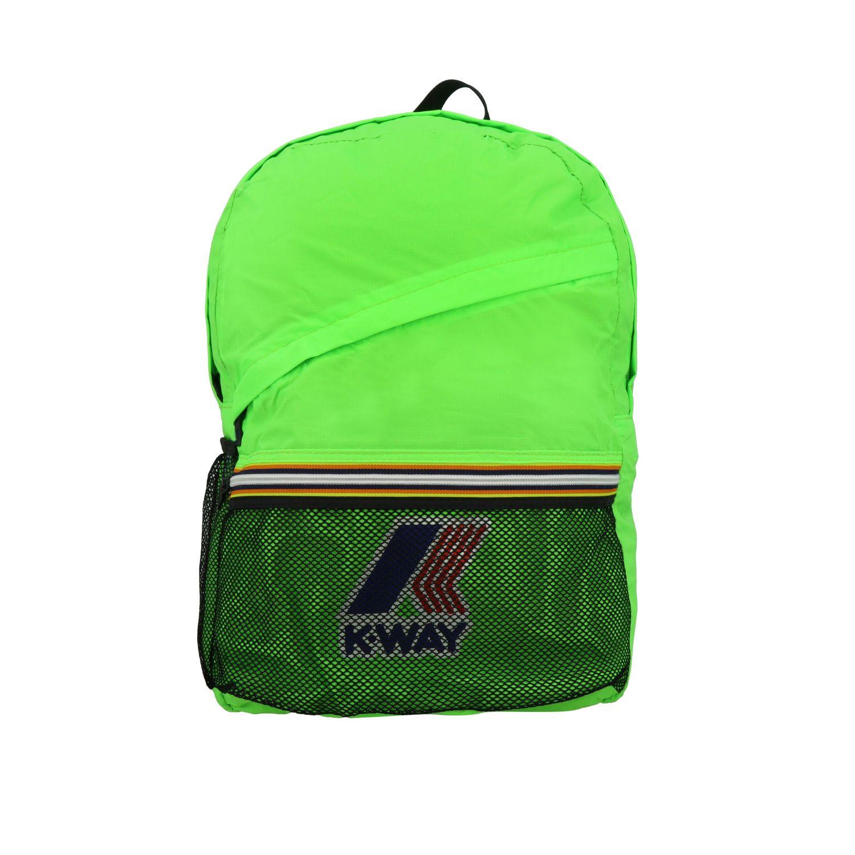 Zaino K-way in nylon con stampa logo verde 1