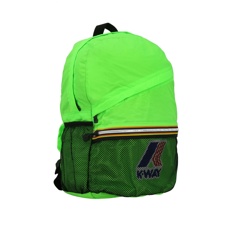 Zaino K-way in nylon con stampa logo verde 2