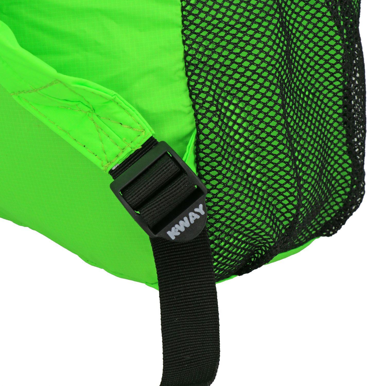 Zaino K-way in nylon con stampa logo verde 4