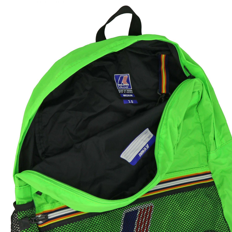 Zaino K-way in nylon con stampa logo verde 5