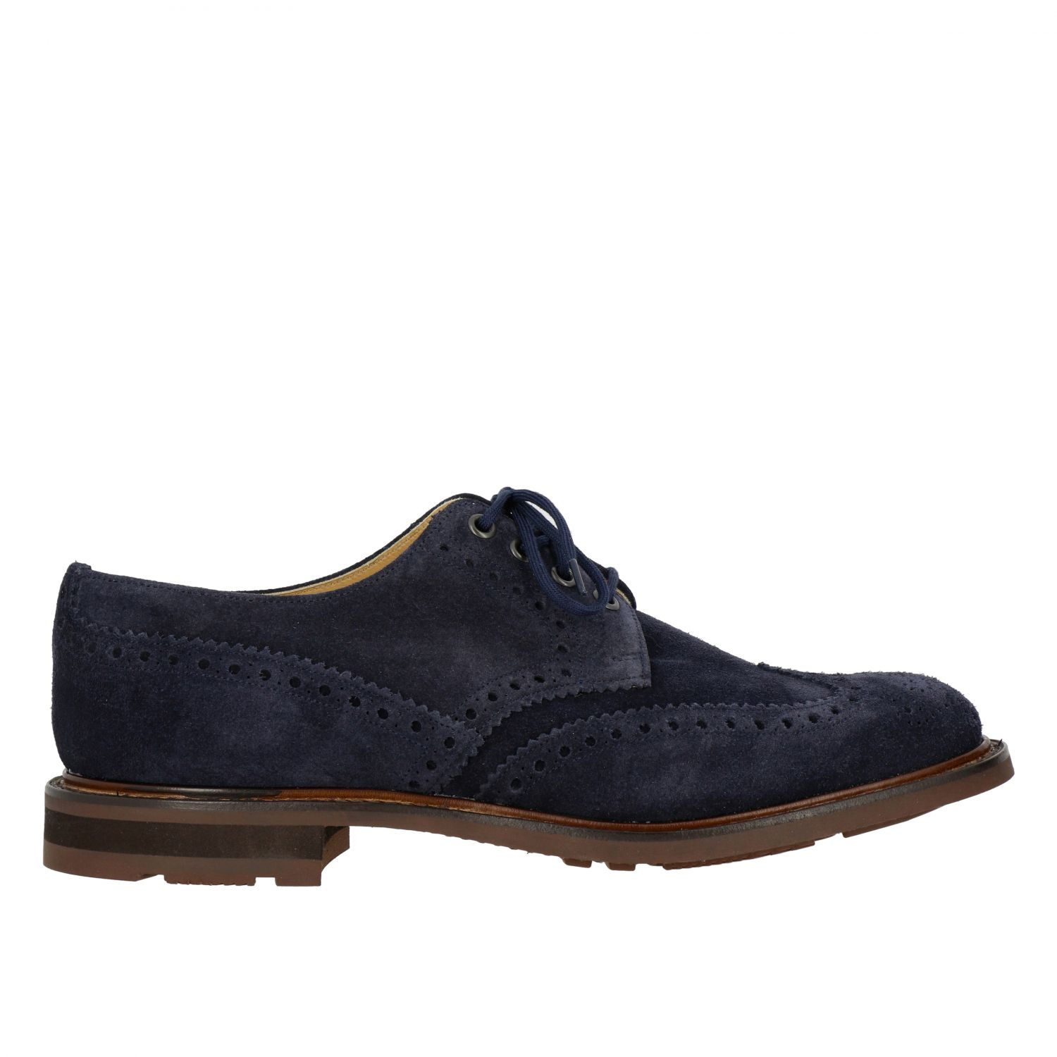 Brogue shoes Church's: Church's suede lace-up with brogue motif navy 1