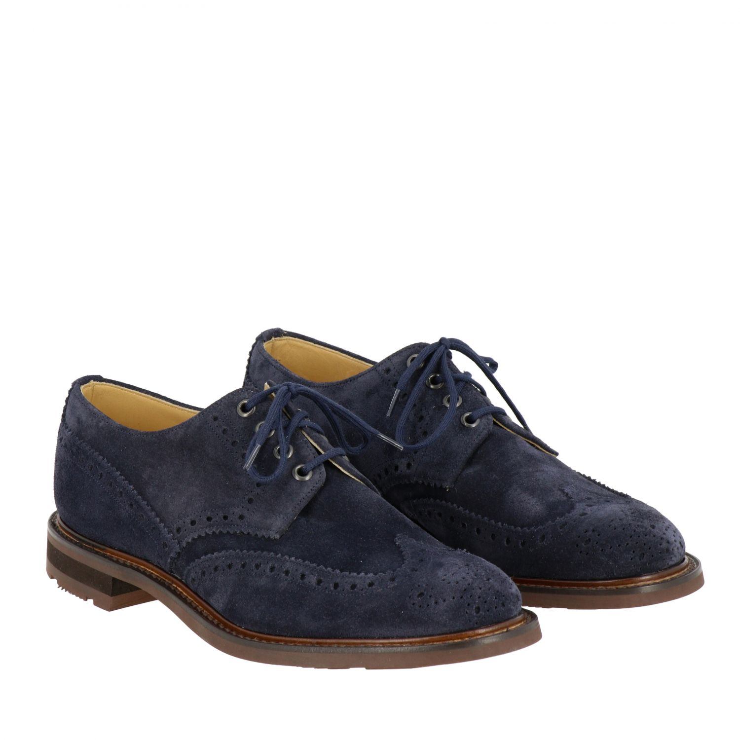 Brogue shoes Church's: Church's suede lace-up with brogue motif navy 2