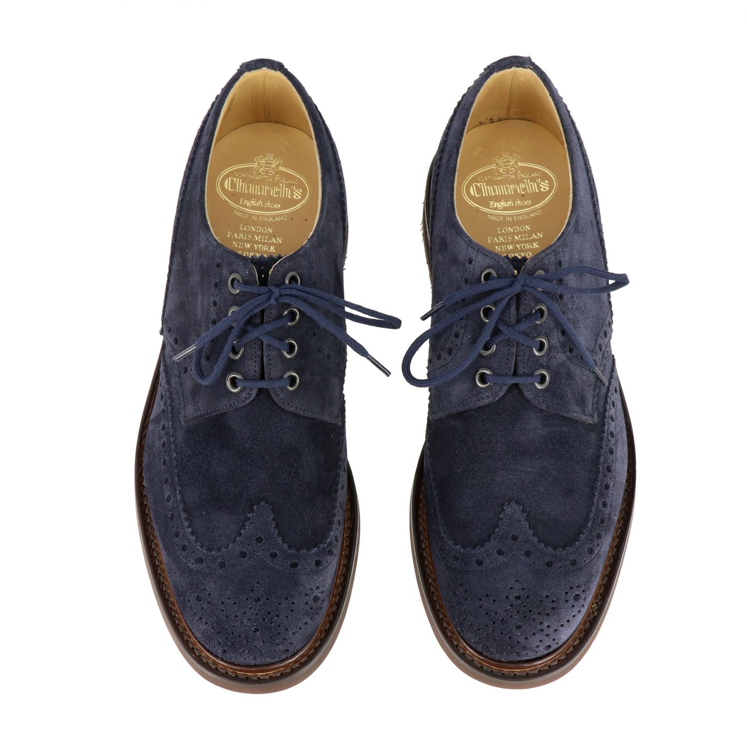 Brogue shoes Church's: Church's suede lace-up with brogue motif navy 3