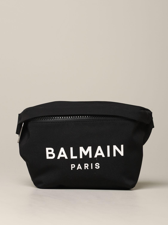 Sac banane Balmain en toile avec logo imprimé noir 1