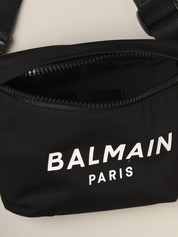 Sac banane Balmain en toile avec logo imprimé noir 5