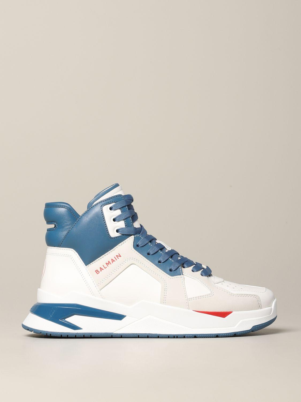 Sneakers Balmain: Balmain high sneakers in bicolor leather white 1