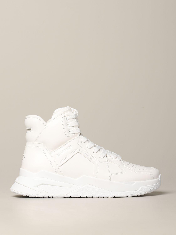 Sneakers Balmain: Balmain hohe Leder Sneakers weiß 1