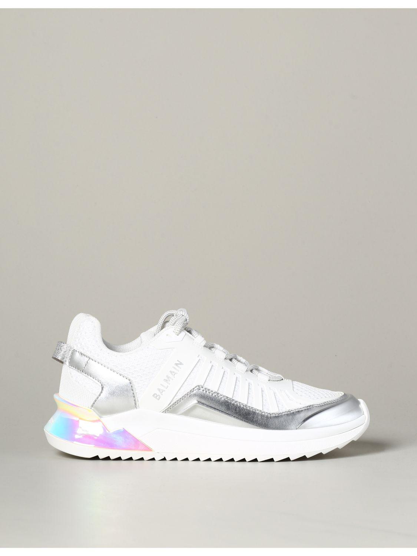 Sneakers Balmain: Balmain Sneakers aus Leder und gepolstertem Mesh weiß 1