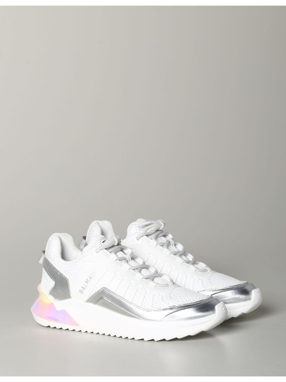 Sneakers Balmain: Balmain Sneakers aus Leder und gepolstertem Mesh weiß 2