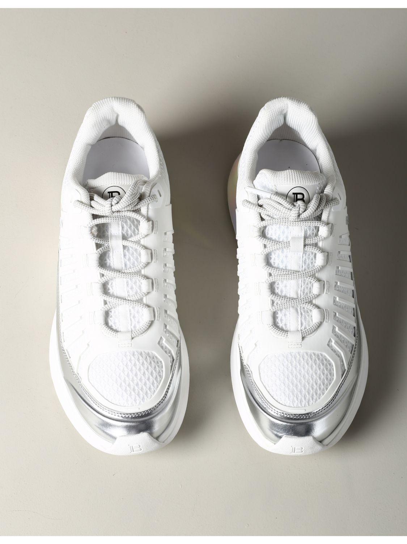 Sneakers Balmain: Balmain Sneakers aus Leder und gepolstertem Mesh weiß 3