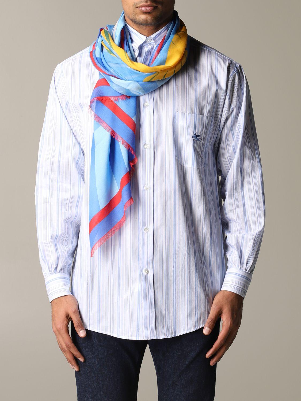 Écharpe Etro avec motif all over bleu azur 1