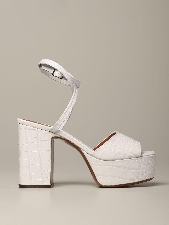 L'autre Chose Sandale aus strukturiertem Leder weiß 1