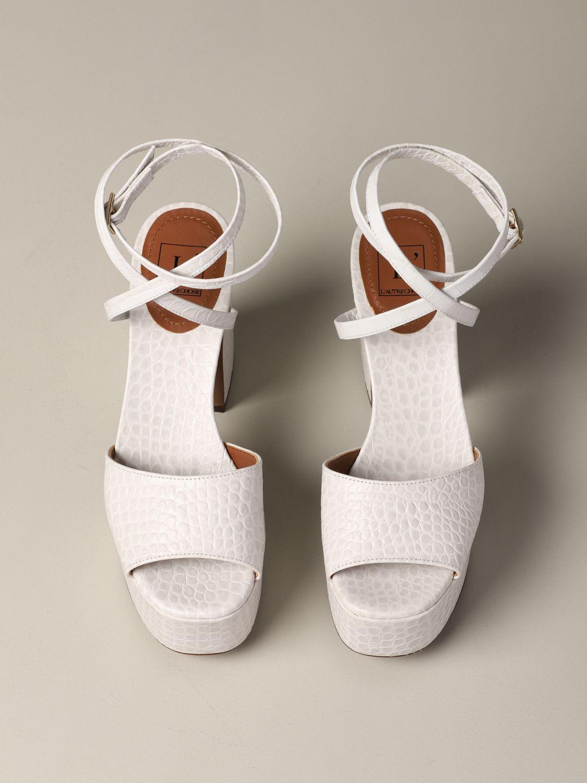 L'autre Chose Sandale aus strukturiertem Leder weiß 3