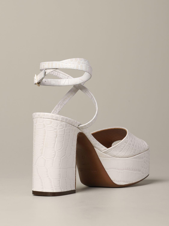 L'autre Chose Sandale aus strukturiertem Leder weiß 5