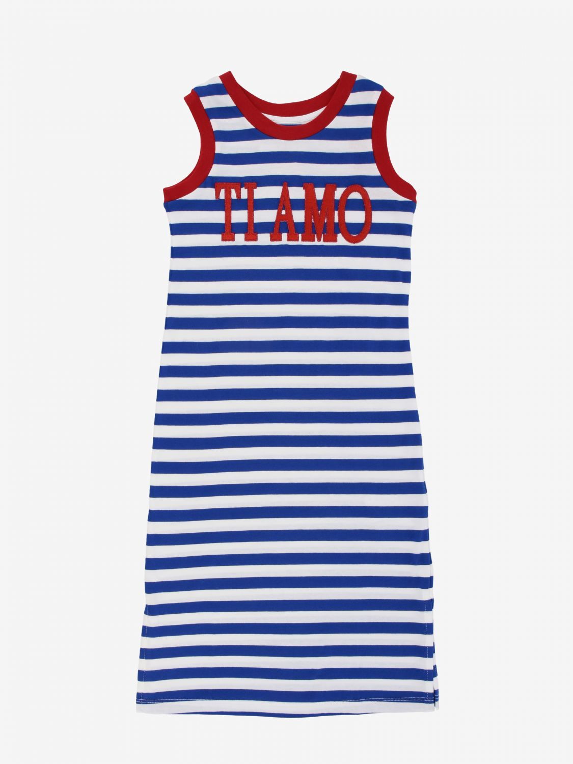 Dress Alberta Ferretti Junior: Alberta Ferretti Junior striped dress with I love you writing blue 1