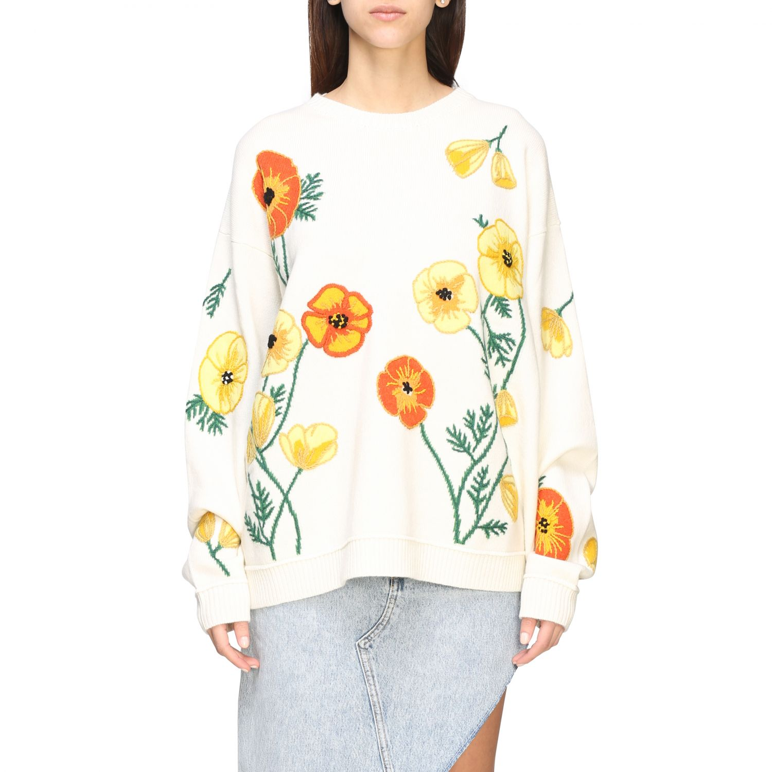 Pull Alanui: Pull Alanui avec broderies florales multicolore 1