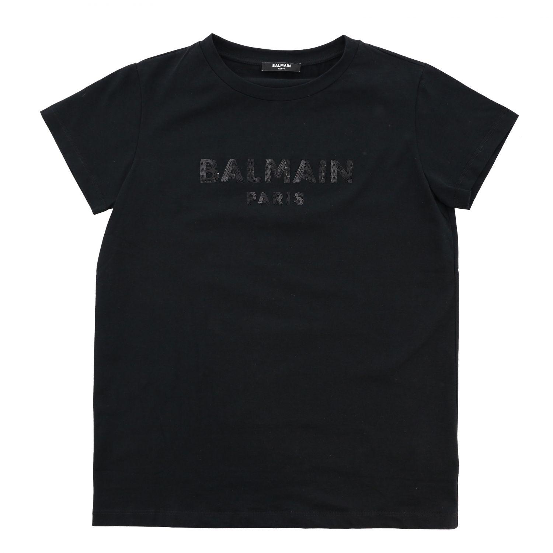 T恤 Balmain: Balmain 同色系logo印花T恤 黑色 1