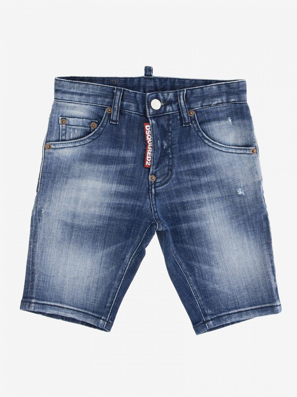 Short en jean Dsquared2 Junior avec déchirures denim 1