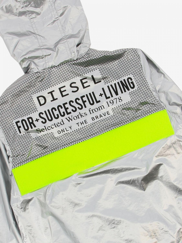 Giacca Diesel: Giacca sportiva Diesel in tessuto laminato con logo argento 3